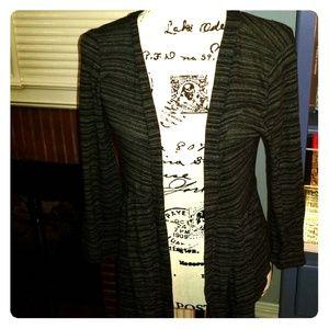 Grey & Black Stripe Open Cardigan